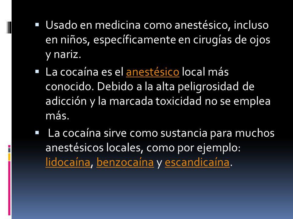 Usado en medicina como anestésico, incluso en niños, específicamente en cirugías de ojos y nariz.