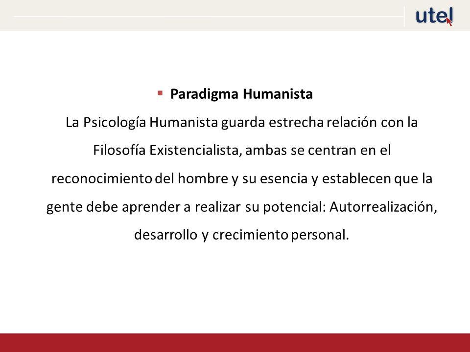 Paradigma Humanista La Psicología Humanista guarda estrecha relación con la Filosofía Existencialista, ambas se centran en el reconocimiento del hombre y su esencia y establecen que la gente debe aprender a realizar su potencial: Autorrealización, desarrollo y crecimiento personal.