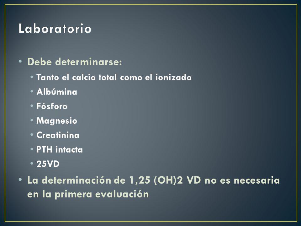 Laboratorio Debe determinarse: