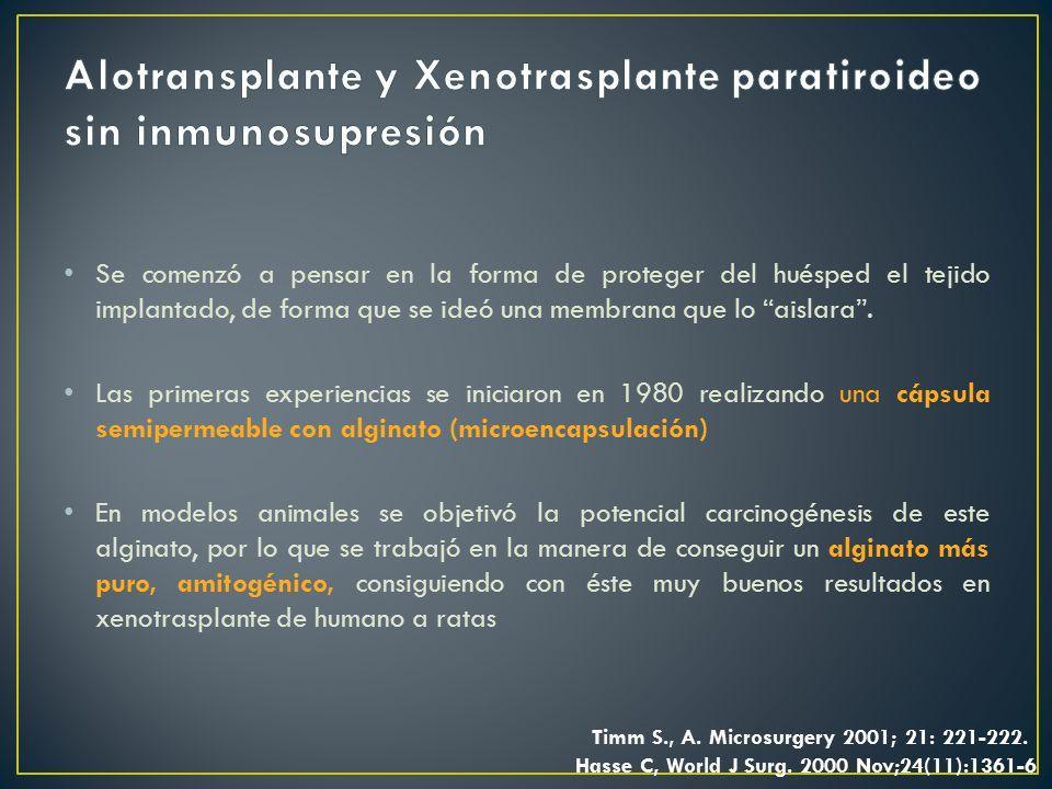 Alotransplante y Xenotrasplante paratiroideo sin inmunosupresión
