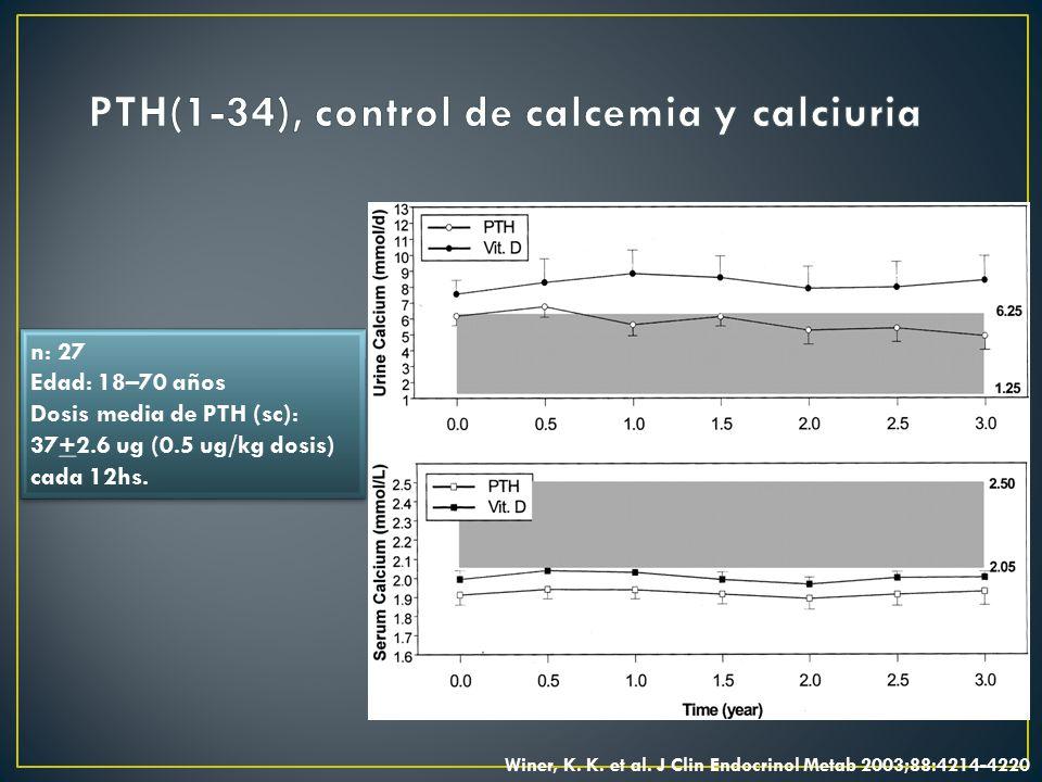 PTH(1-34), control de calcemia y calciuria