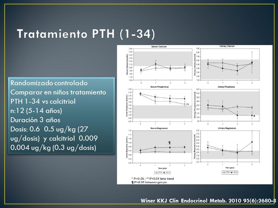 Tratamiento PTH (1-34) Randomizado controlado Comparar en niños tratamiento PTH 1-34 vs calcitriol.