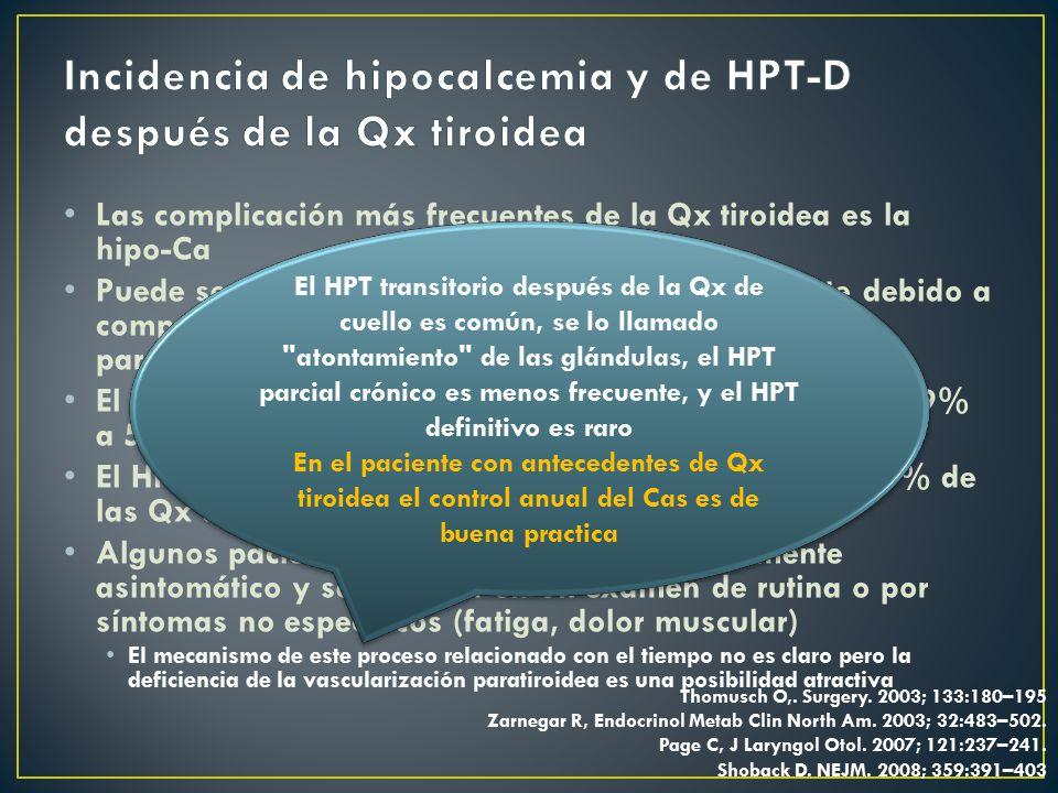 Incidencia de hipocalcemia y de HPT-D después de la Qx tiroidea