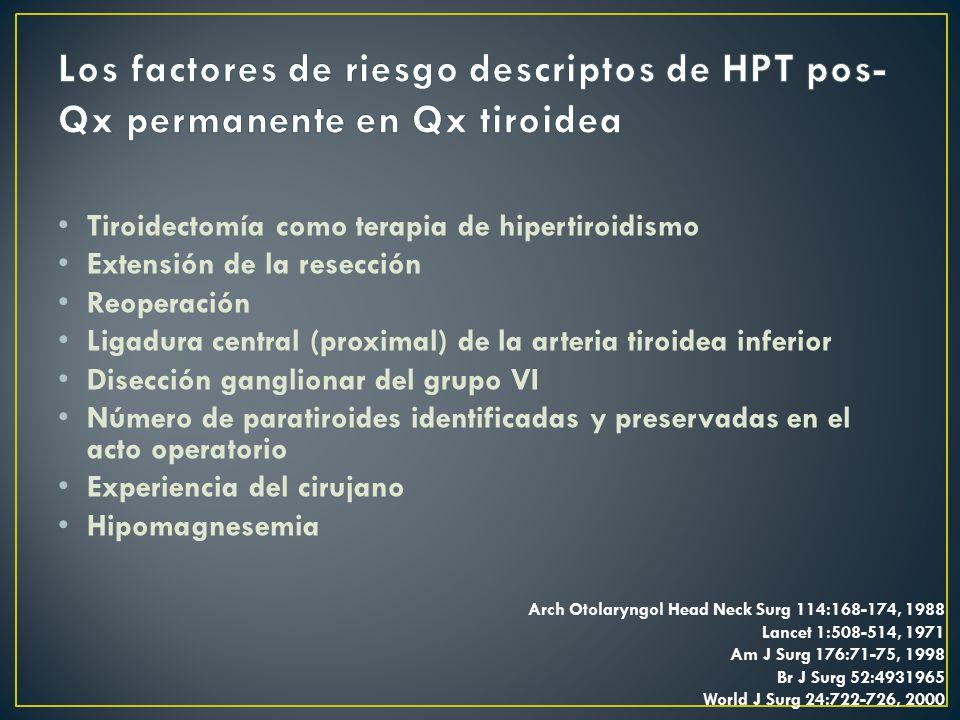 Los factores de riesgo descriptos de HPT pos-Qx permanente en Qx tiroidea
