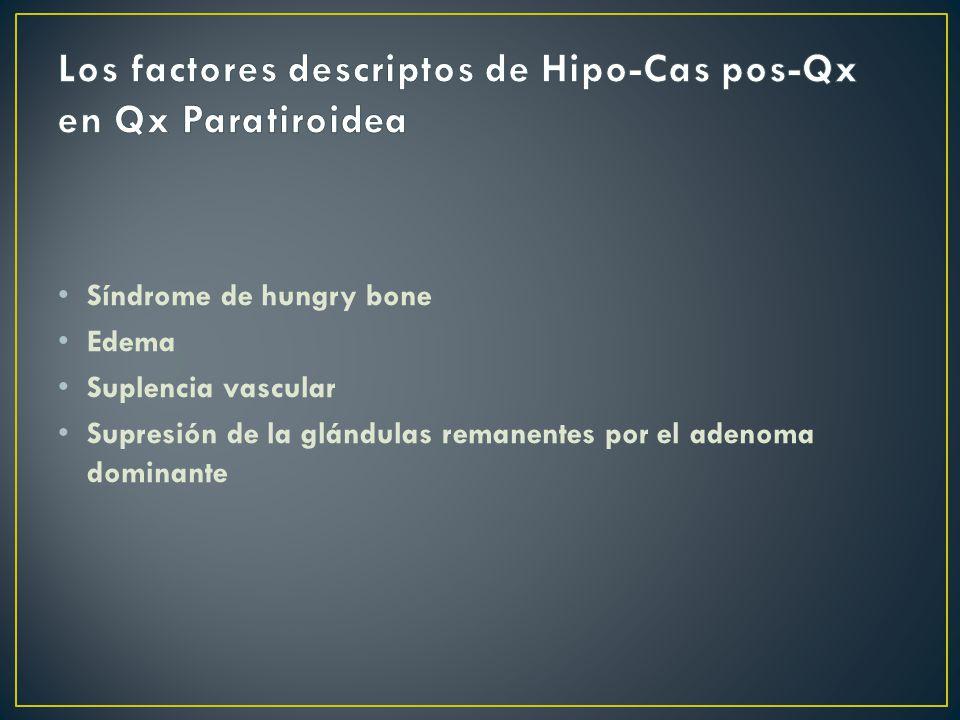 Los factores descriptos de Hipo-Cas pos-Qx en Qx Paratiroidea