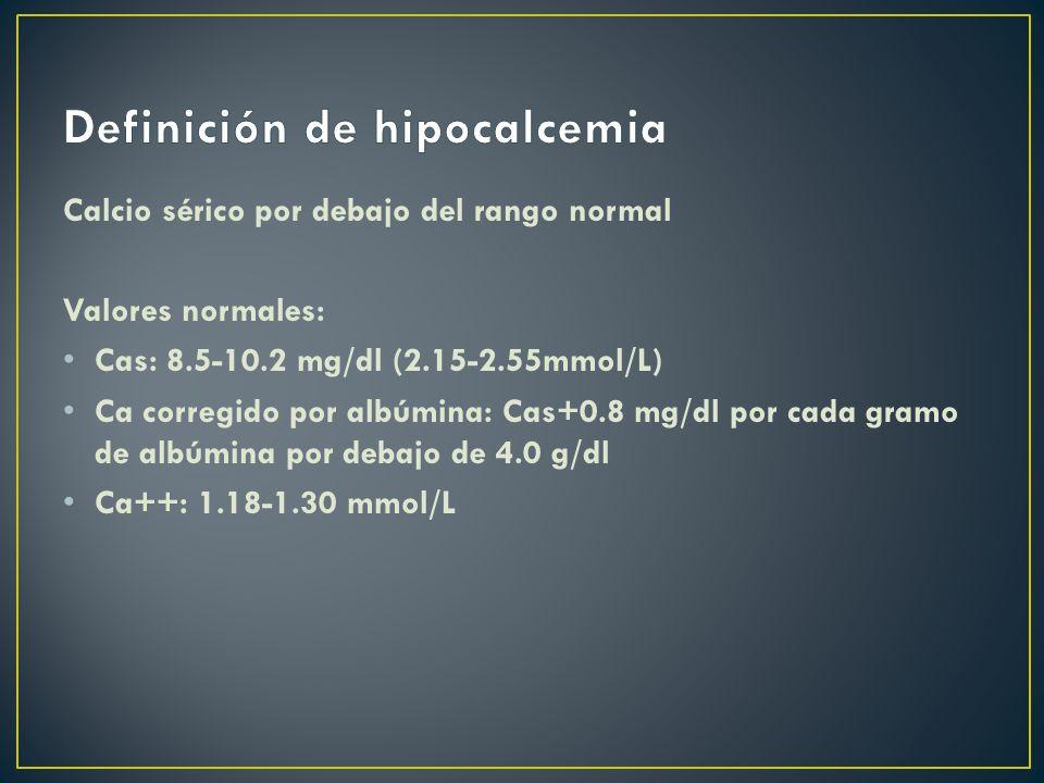 Definición de hipocalcemia