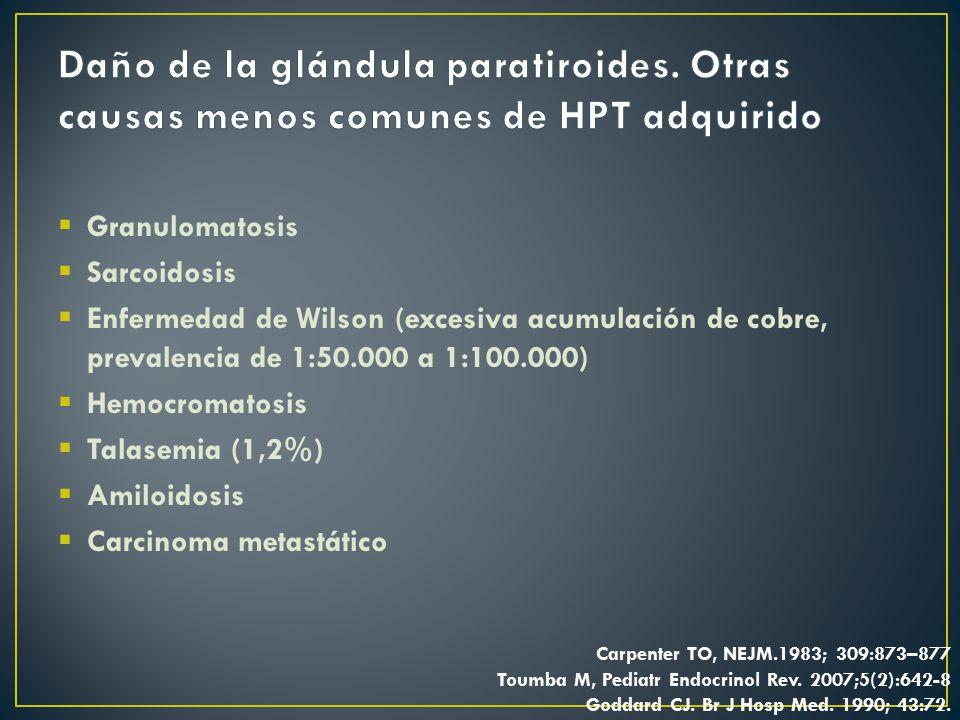 Daño de la glándula paratiroides