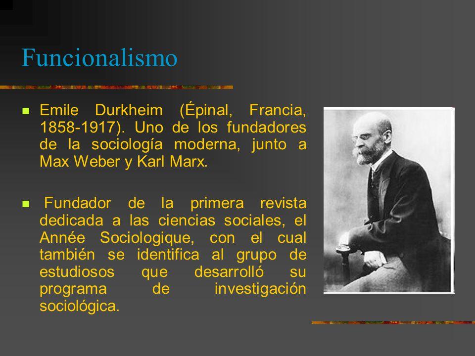 Funcionalismo Emile Durkheim (Épinal, Francia, 1858-1917). Uno de los fundadores de la sociología moderna, junto a Max Weber y Karl Marx.
