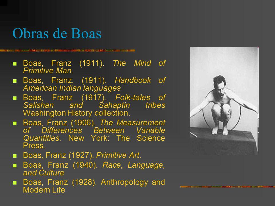 Obras de Boas Boas, Franz (1911). The Mind of Primitive Man.