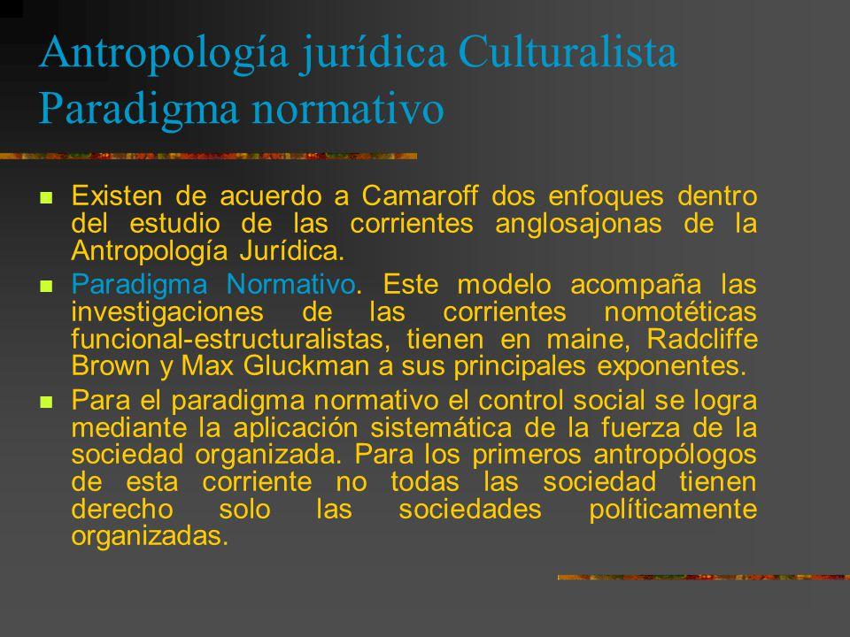 Antropología jurídica Culturalista Paradigma normativo