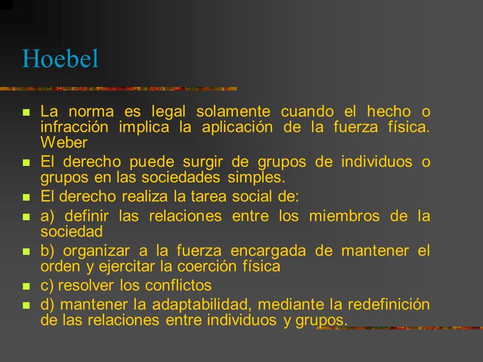 Hoebel La norma es legal solamente cuando el hecho o infracción implica la aplicación de la fuerza física. Weber.