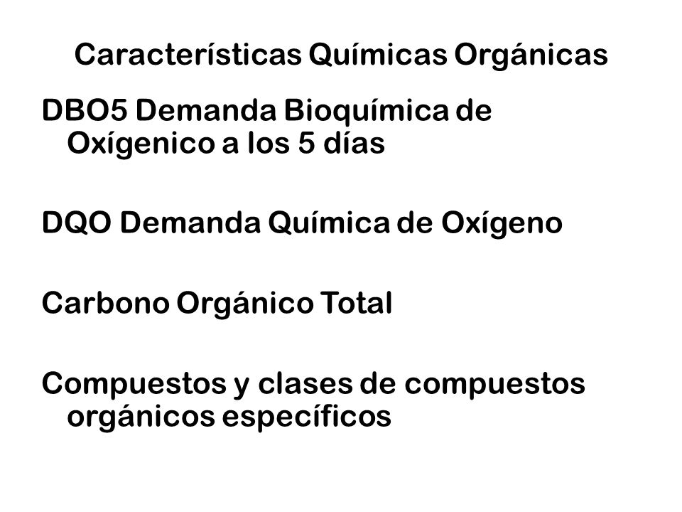 Características Químicas Orgánicas