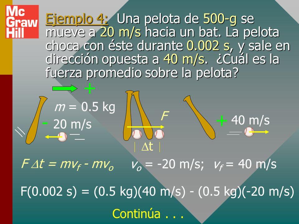 Ejemplo 4: Una pelota de 500-g se mueve a 20 m/s hacia un bat