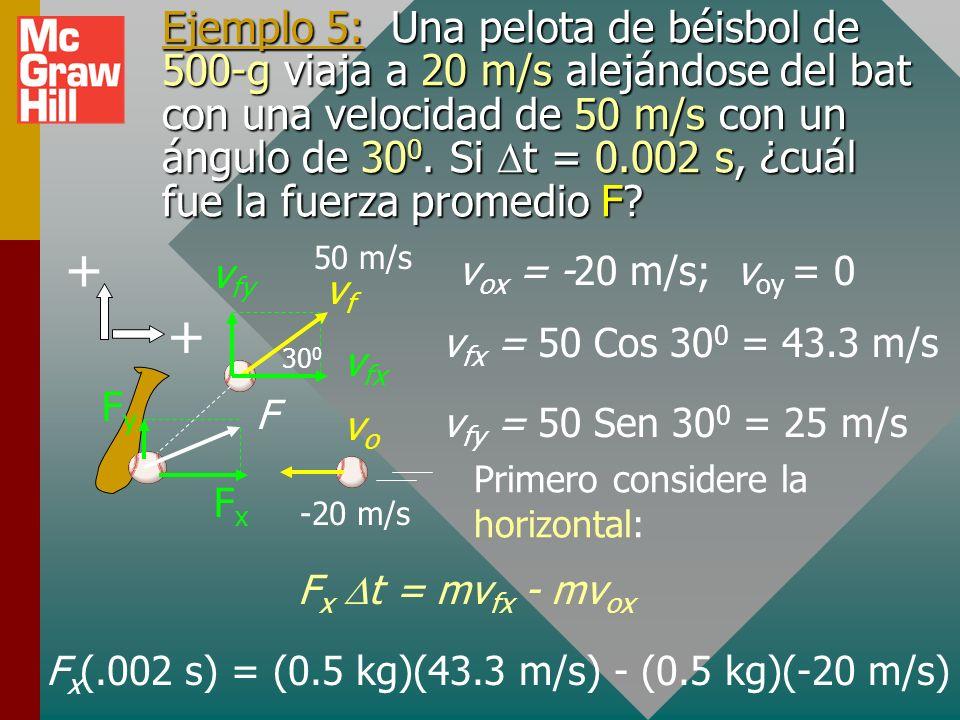 Fx(.002 s) = (0.5 kg)(43.3 m/s) - (0.5 kg)(-20 m/s)
