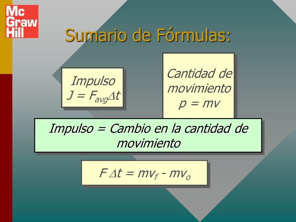 Sumario de Fórmulas: Cantidad de movimiento p = mv Impulso J = FavgDt