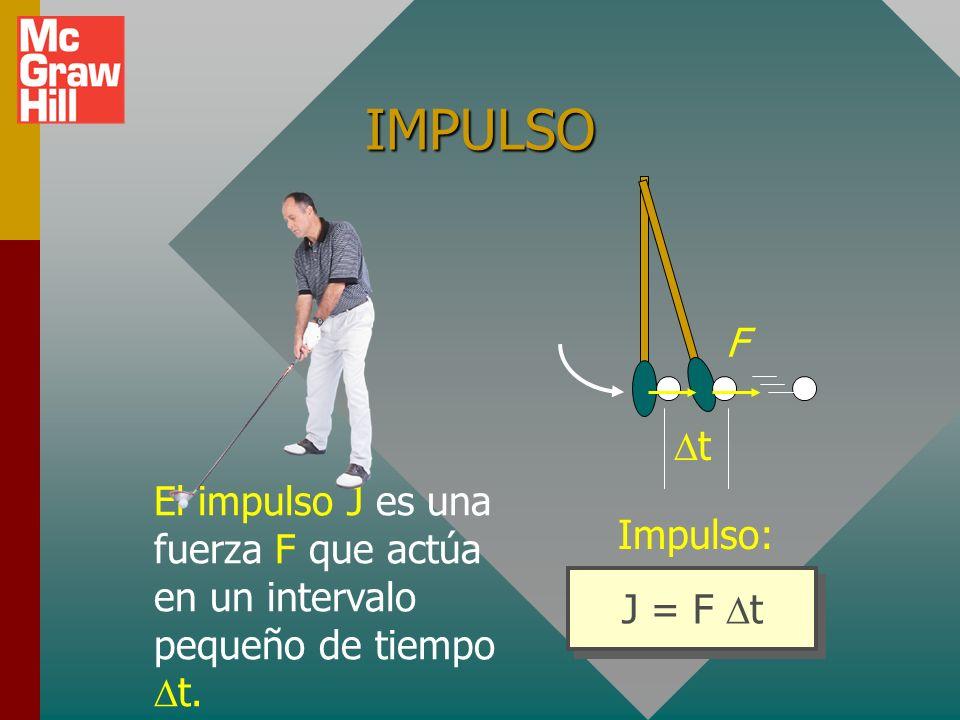 IMPULSO El impulso J es una fuerza F que actúa en un intervalo pequeño de tiempo Dt. F. Dt. Impulso: