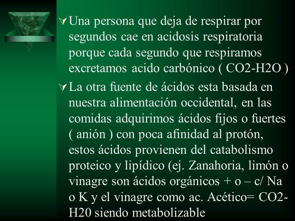 Una persona que deja de respirar por segundos cae en acidosis respiratoria porque cada segundo que respiramos excretamos acido carbónico ( CO2-H2O )