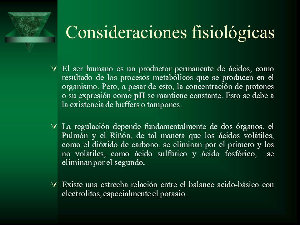 Consideraciones fisiológicas