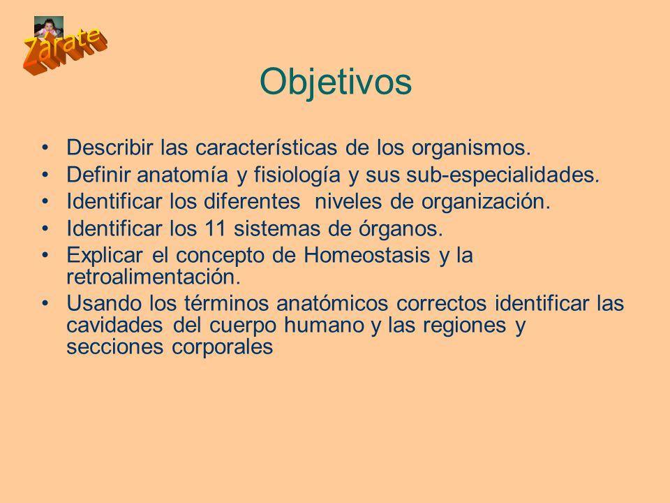 Objetivos Describir las características de los organismos.
