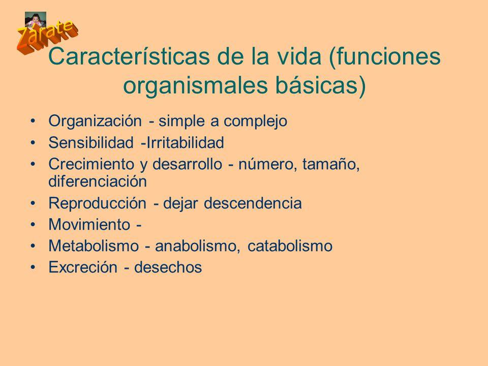 Características de la vida (funciones organismales básicas)