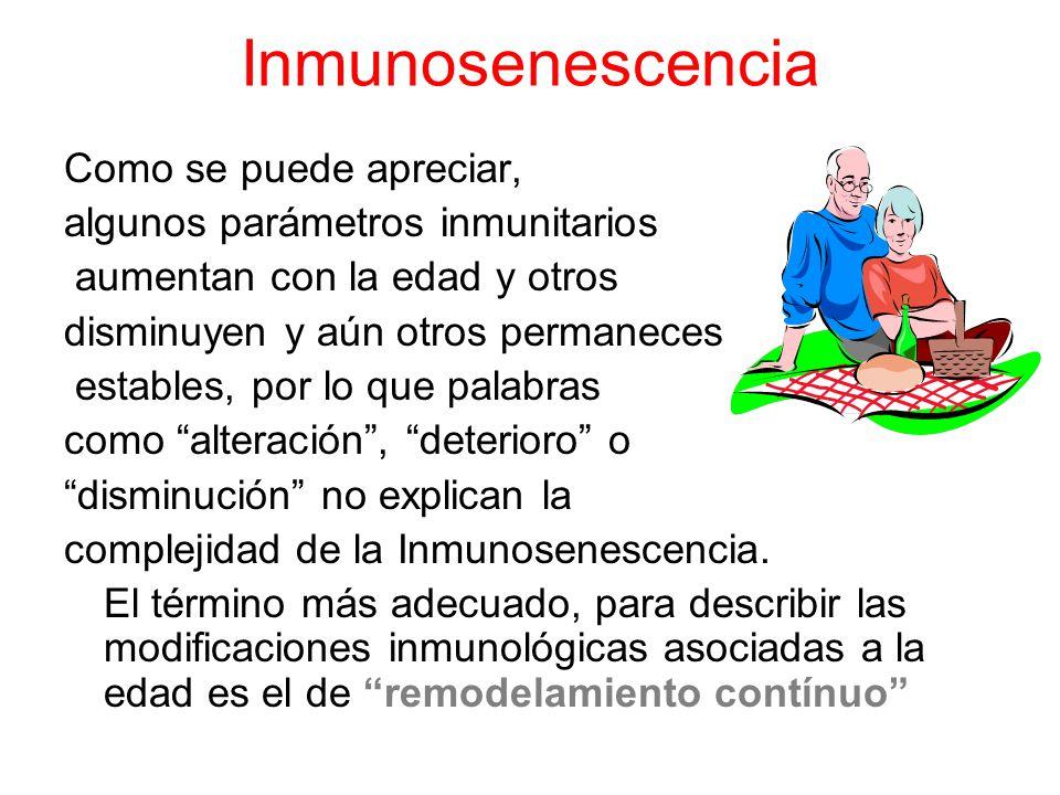 Inmunosenescencia Como se puede apreciar,