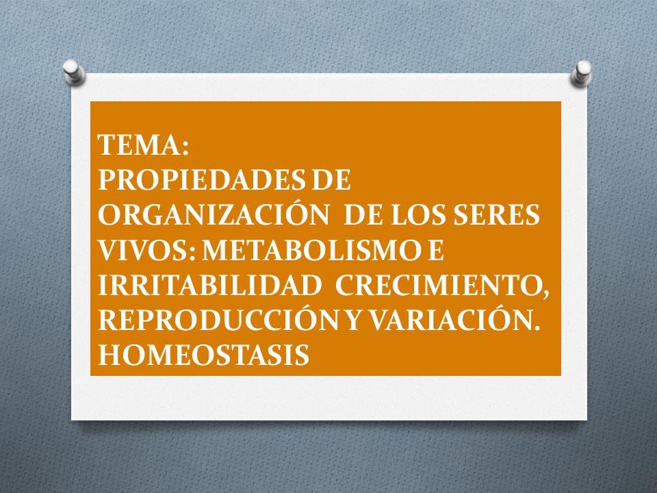 TEMA: PROPIEDADES DE ORGANIZACIÓN DE LOS SERES VIVOS: METABOLISMO E IRRITABILIDAD CRECIMIENTO, REPRODUCCIÓN Y VARIACIÓN.