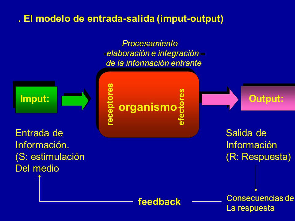 organismo . El modelo de entrada-salida (imput-output) Imput: Output: