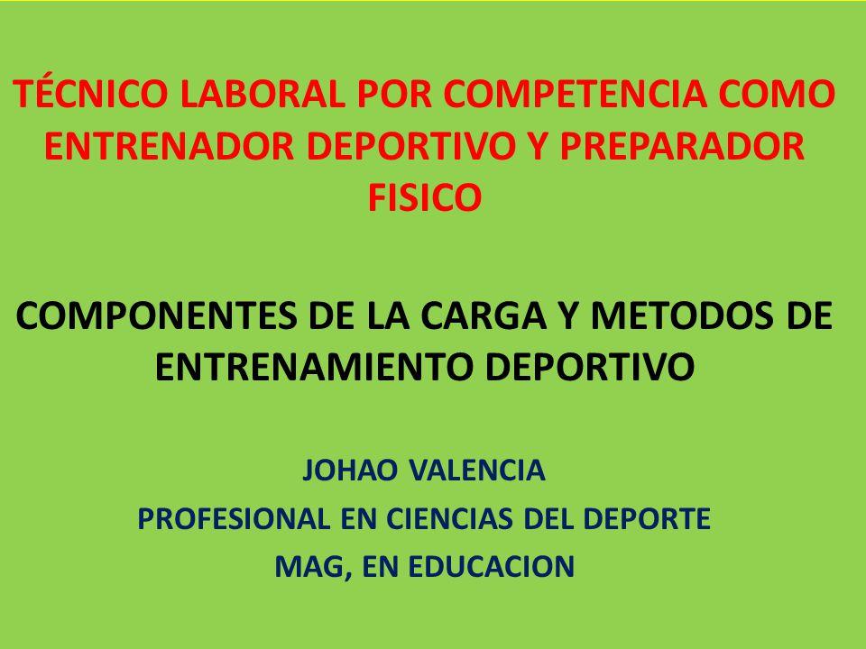 COMPONENTES DE LA CARGA Y METODOS DE ENTRENAMIENTO DEPORTIVO