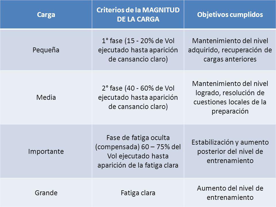Criterios de la MAGNITUD DE LA CARGA