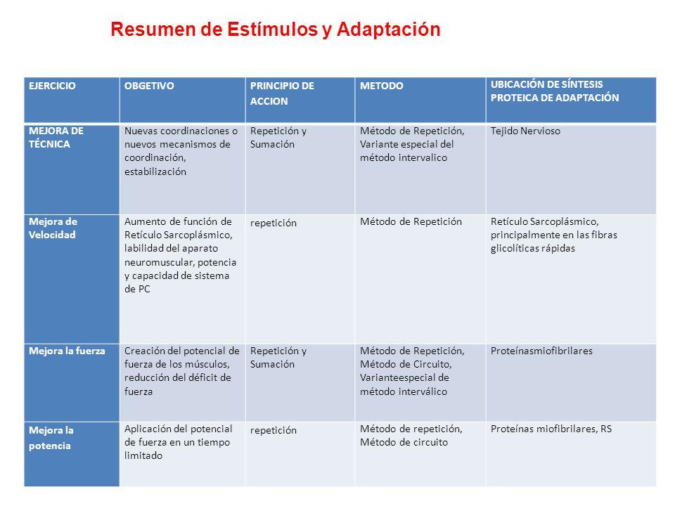 Resumen de Estímulos y Adaptación