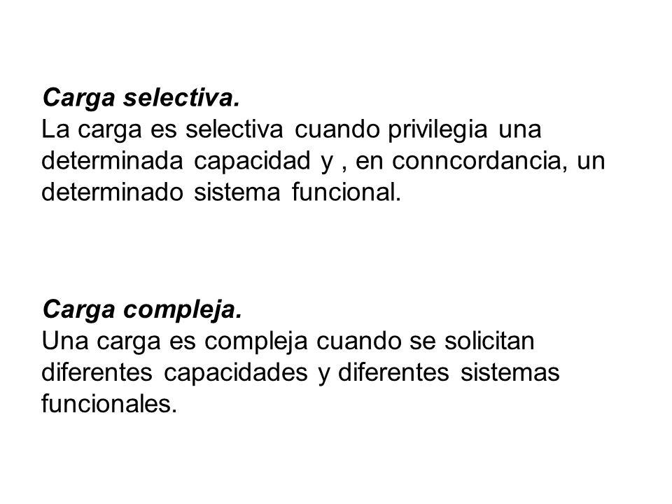 Carga selectiva. La carga es selectiva cuando privilegia una determinada capacidad y , en conncordancia, un determinado sistema funcional.