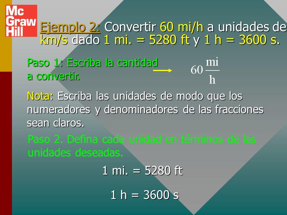 Ejemplo 2: Convertir 60 mi/h a unidades de km/s dado 1 mi