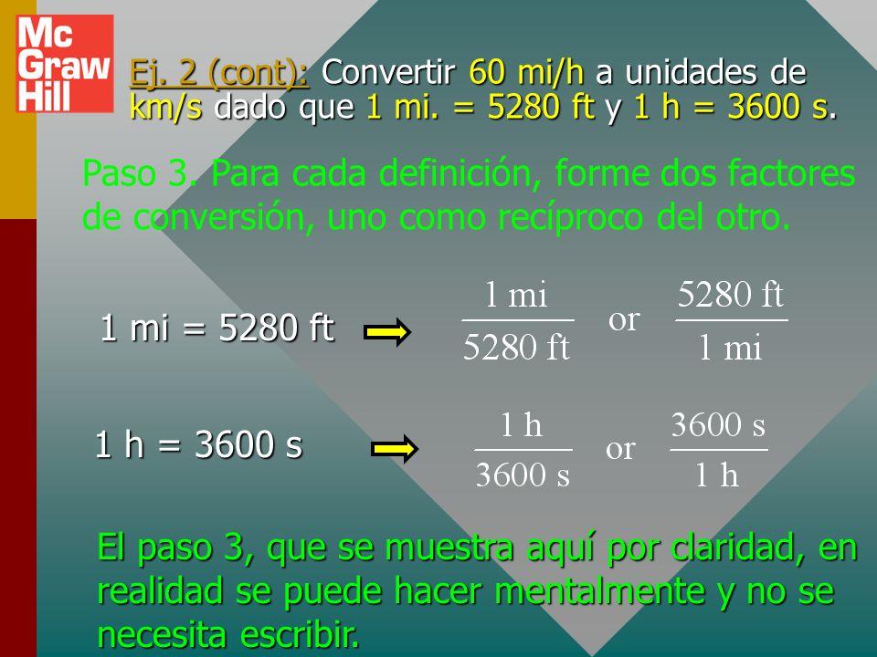 Ej. 2 (cont): Convertir 60 mi/h a unidades de km/s dado que 1 mi