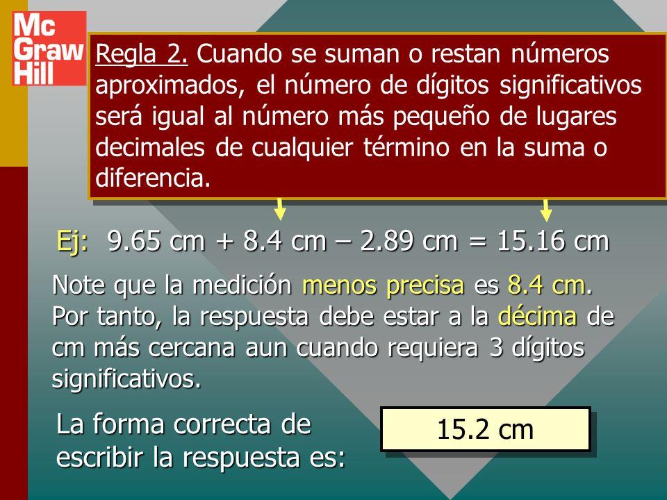La forma correcta de escribir la respuesta es: 15.2 cm