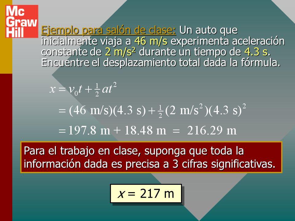 Ejemplo para salón de clase: Un auto que inicialmente viaja a 46 m/s experimenta aceleración constante de 2 m/s2 durante un tiempo de 4.3 s. Encuentre el desplazamiento total dada la fórmula.