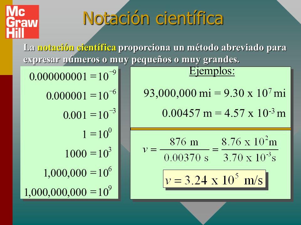 Notación científica Ejemplos: 93,000,000 mi = 9.30 x 107 mi