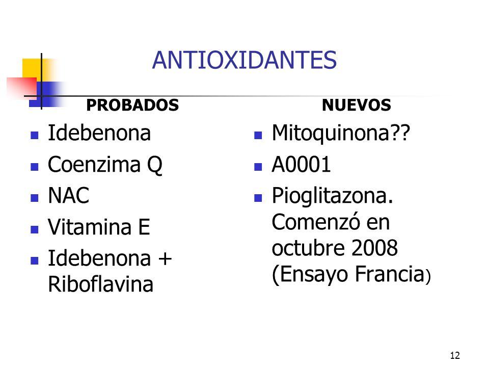 ANTIOXIDANTES Idebenona Coenzima Q NAC Vitamina E