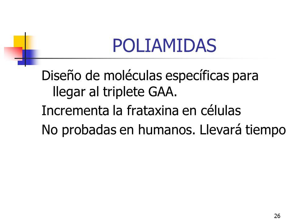 POLIAMIDAS Diseño de moléculas específicas para llegar al triplete GAA. Incrementa la frataxina en células.