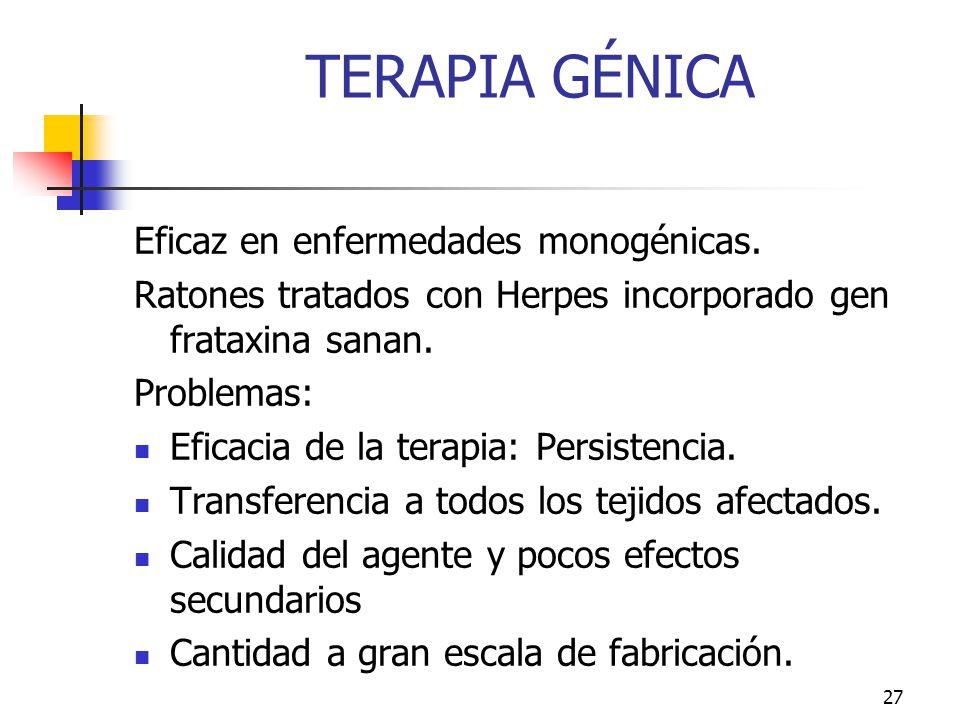 TERAPIA GÉNICA Eficaz en enfermedades monogénicas.
