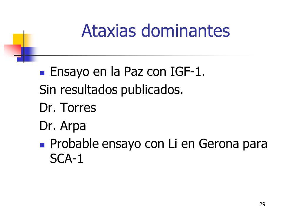 Ataxias dominantes Ensayo en la Paz con IGF-1.