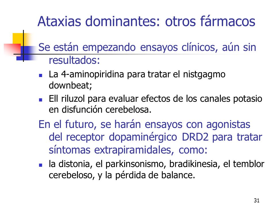 Ataxias dominantes: otros fármacos