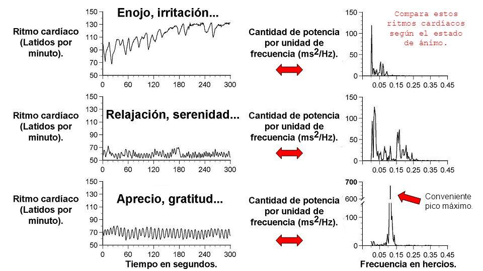 Compara estos ritmos cardíacos según el estado de ánimo.
