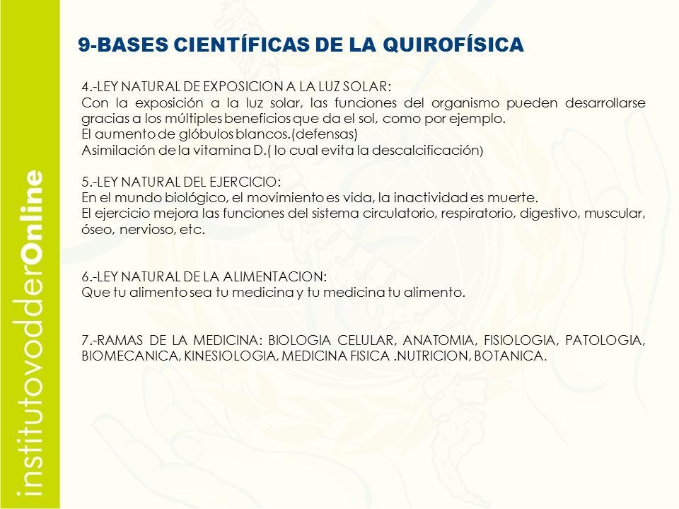9-BASES CIENTÍFICAS DE LA QUIROFÍSICA