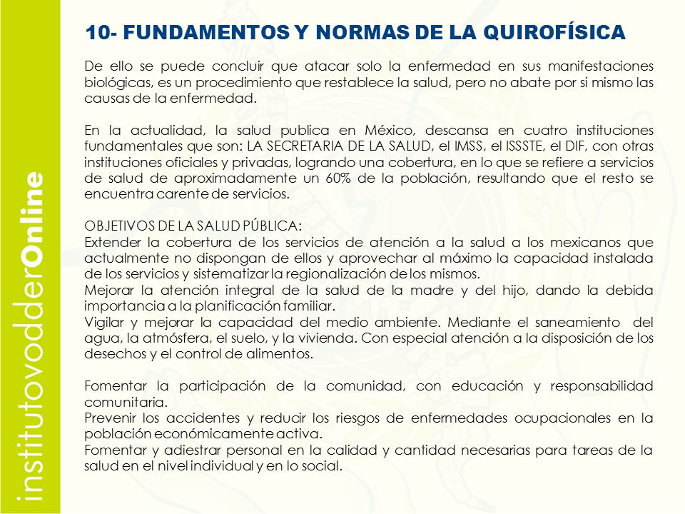 10- FUNDAMENTOS Y NORMAS DE LA QUIROFÍSICA