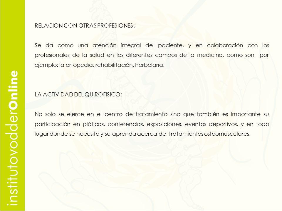 RELACION CON OTRAS PROFESIONES: