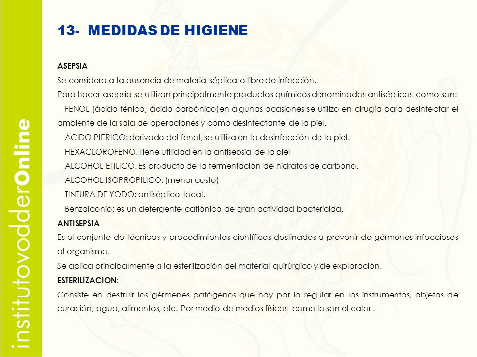 13- MEDIDAS DE HIGIENE ASEPSIA