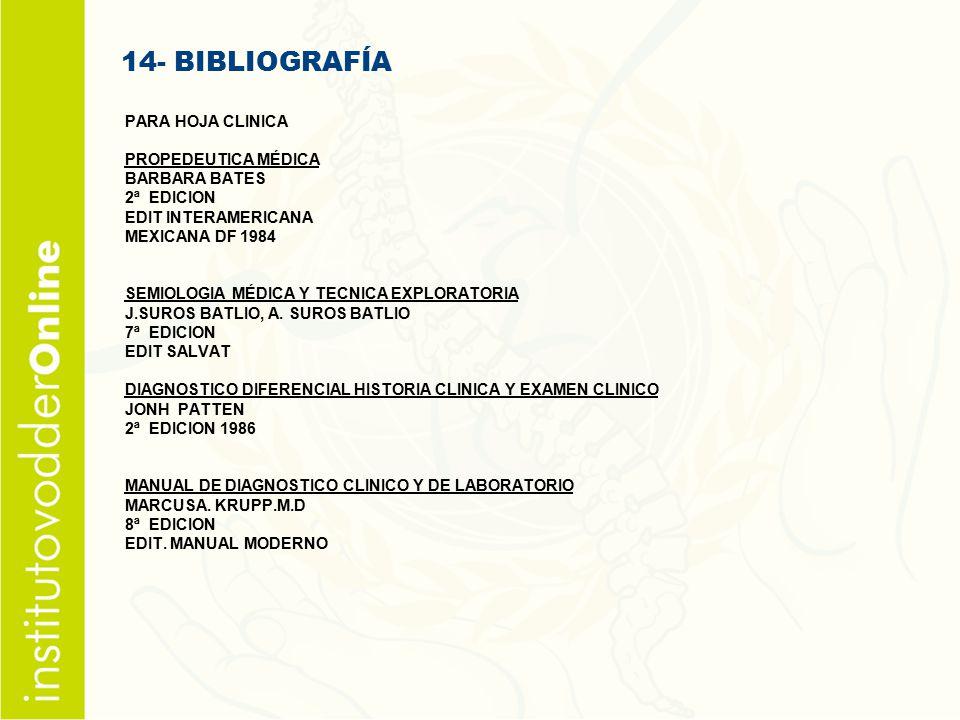14- BIBLIOGRAFÍA PARA HOJA CLINICA PROPEDEUTICA MÉDICA BARBARA BATES