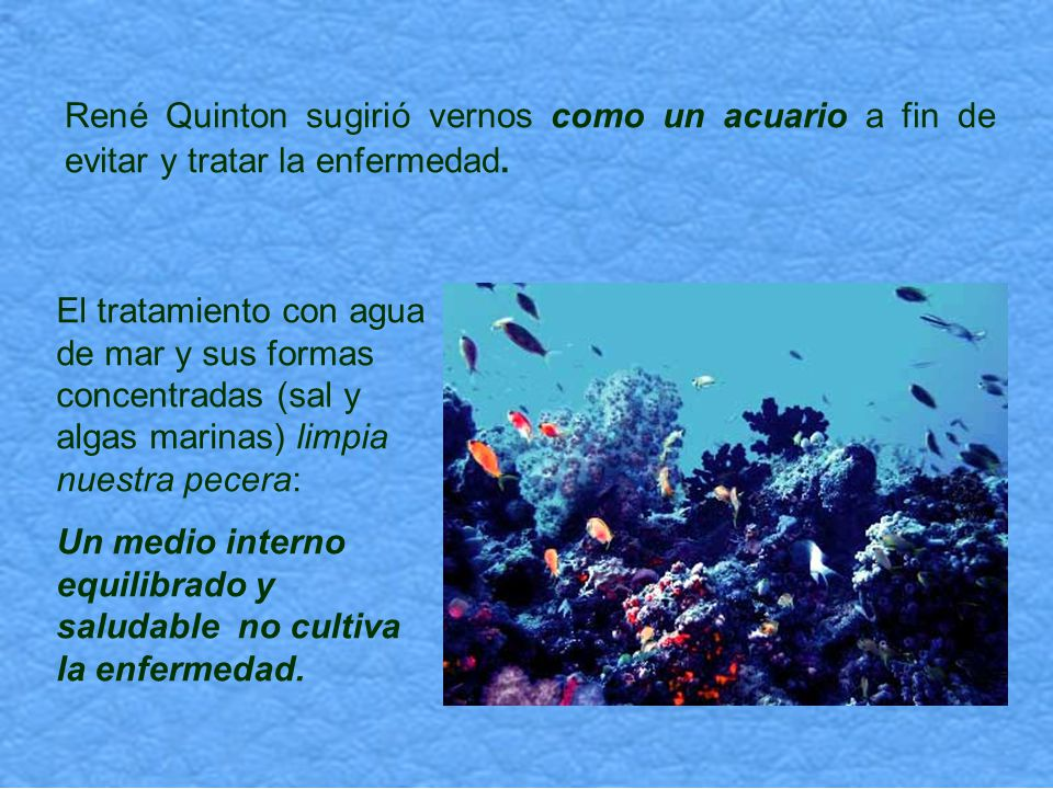 René Quinton sugirió vernos como un acuario a fin de evitar y tratar la enfermedad.