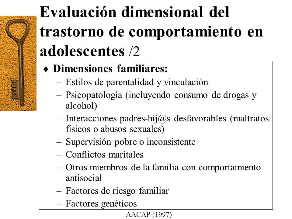 Evaluación dimensional del trastorno de comportamiento en adolescentes /2