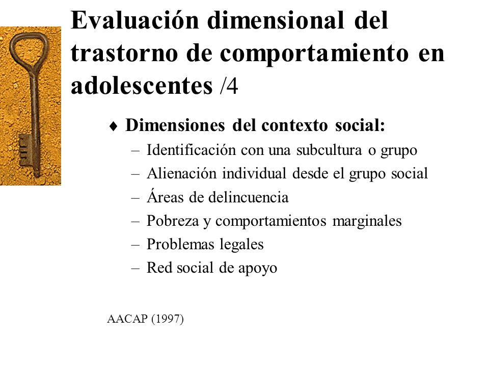 Evaluación dimensional del trastorno de comportamiento en adolescentes /4